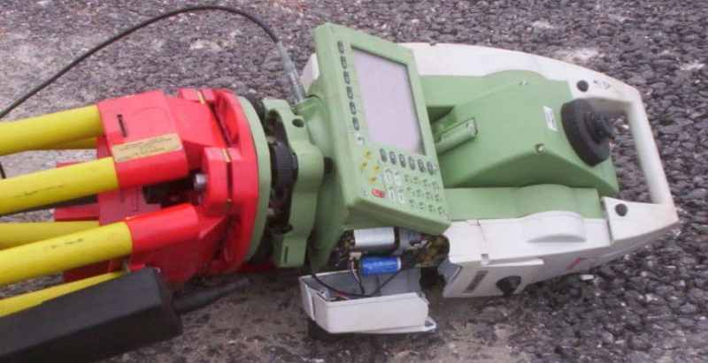 Broken Total Station. Carrying out a tripod test would prevent errors.