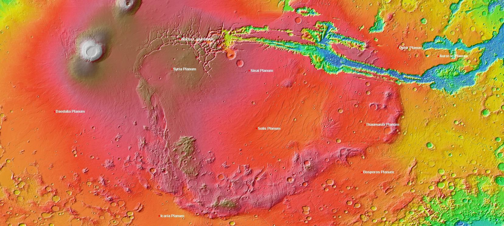 Un mapa de Marte que incluye la región de elevación inusual llamada Thaumasia Planum. Crédito: Wikimedia.