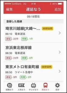 電車の遅延や運休確認アプリ