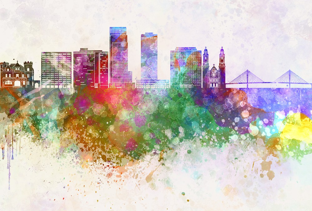 downtown omaha nebraska skyline watercolor lti users conference 2019