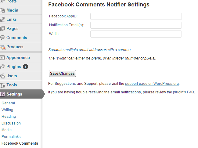 facebook comment notifier for wordpress