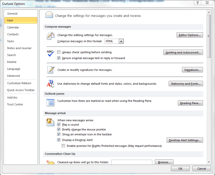 Outlook 2010 Signature Screen Shot 2