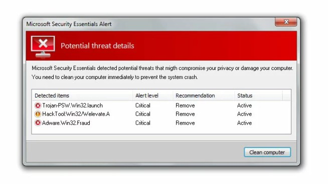 microsoft security essentials fake alert