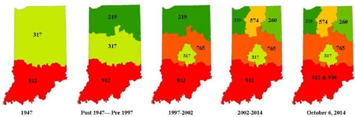 Indiana 812 & 930 proposed area code layout