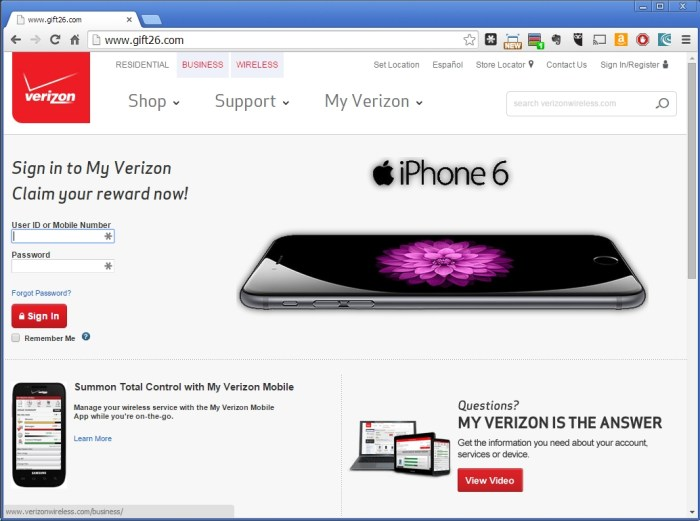 Verizon Wireless Gift26 com Phishing Scam