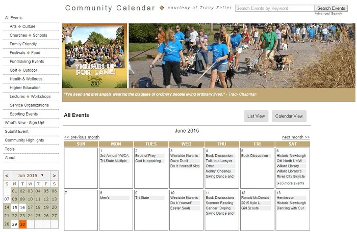Tracy Zeller Community Calendar