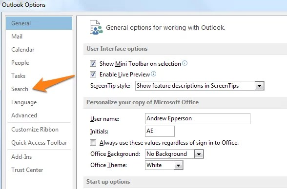 outlook 2013 options search