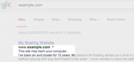 Sample Search engine result with malware warning