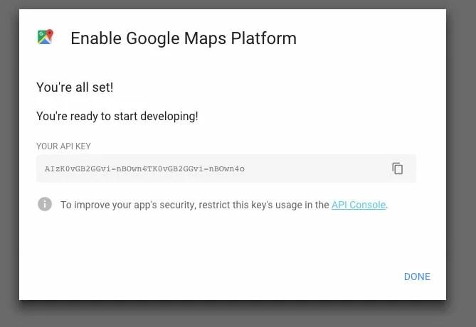 Setup google maps platform