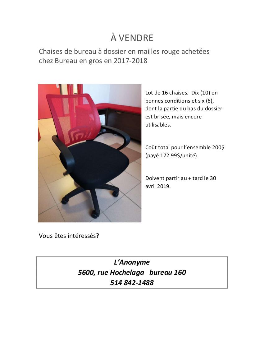 vendre lot de 16 chaises de bureau