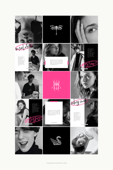 purpose-theme-pink-black-instagram-feed-with-illustrations