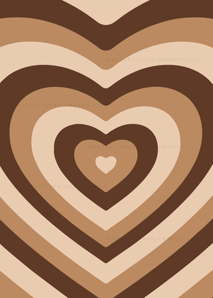 Brown aesthetic heart background image