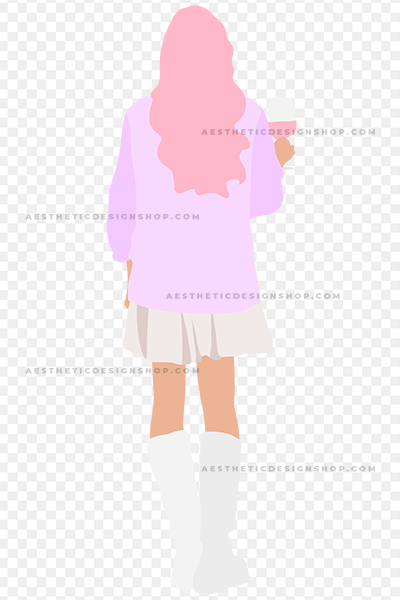 Pastel Illustration of Girl with Wine Glass