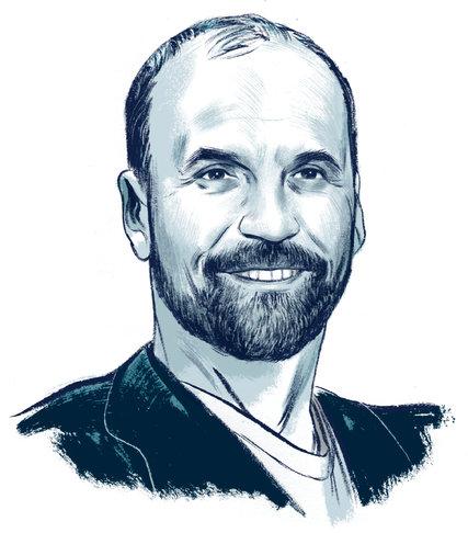 Tác giả Scott Turow (Phác họa của Jillian Tamaki - Báo New York Times)