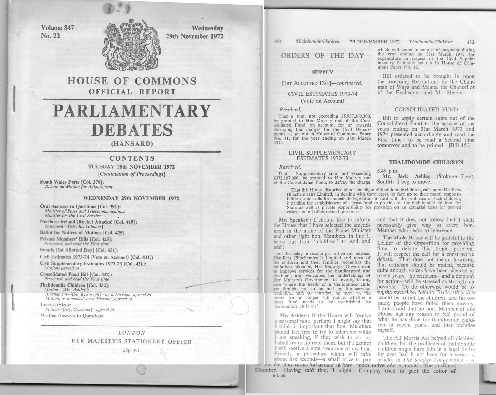 Vài trang Hansard thứ Tư ngày 29 tháng 11 năm 1972 (Nguồn hình: thalidomide50.blogspot.co.uk)