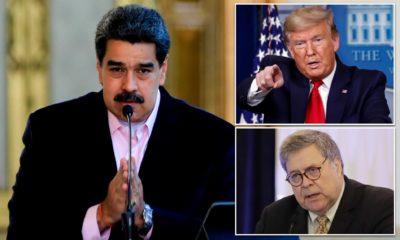 Tổng thống Venezuela Maduro, Tổng thống Mỹ Donald Trump và Tổng Chưởng lý Mỹ Barr. Ảnh: DailyMail.
