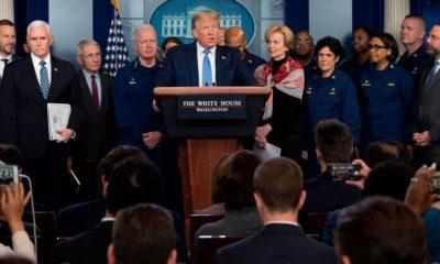 Tổng thống Trump và nhóm ứng phó với đại dịch COVID-19 trong một cuộc họp báo tại Nhà Trắng giữa tháng 3/2020. Ảnh: Getty Images.