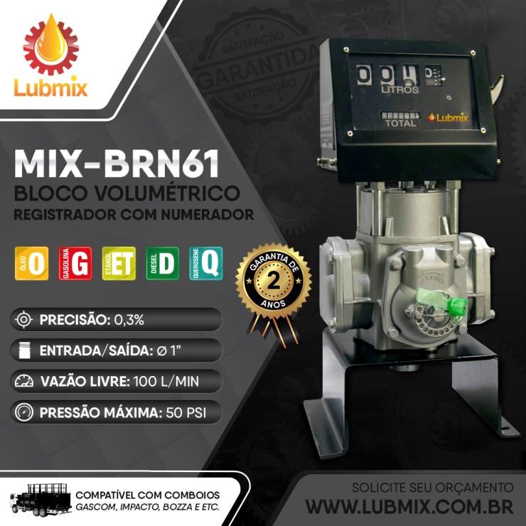 Bloco volumétrico registrador com numerador Lubmix MIX-BRN61 para utilização com óleo lubrificante e combustíveis.