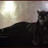 2008 - Pittura lavabile su legno rivestito in foglia argento 200x170. Water paint on silver leaf on wood 200x170.