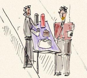 Venditori ambulanti di colazione. Disegno di Luca Fanelli