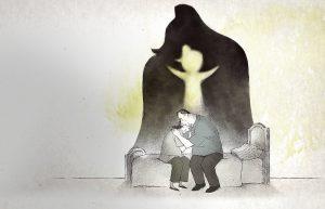 L'abbraccio straziante dei due genitori, mentre sullo sfondo si stagiano le ombre dei due, con i contorni della figlia, felice del riavvicinamento