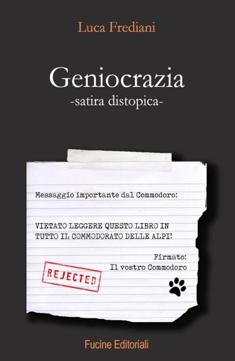 Copertina geniocrazia, romanzo, satira distopica