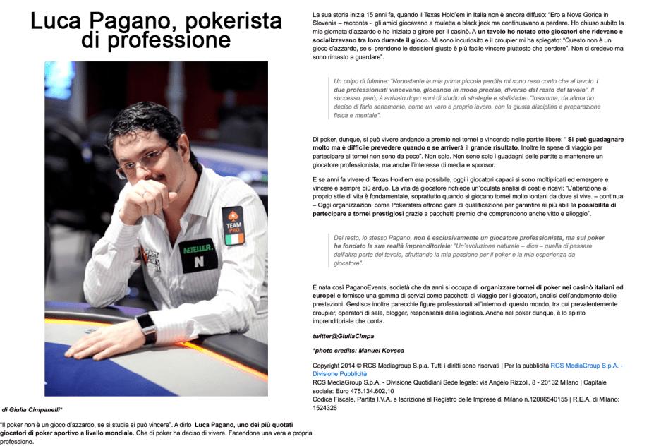 Pokerista di professione – Corriere.it, 2014