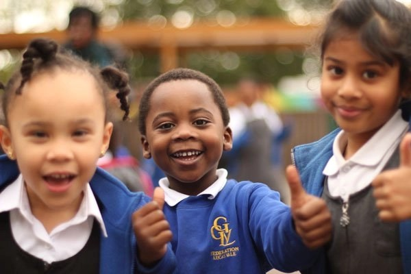 Thumbs up from Lucas Vale children