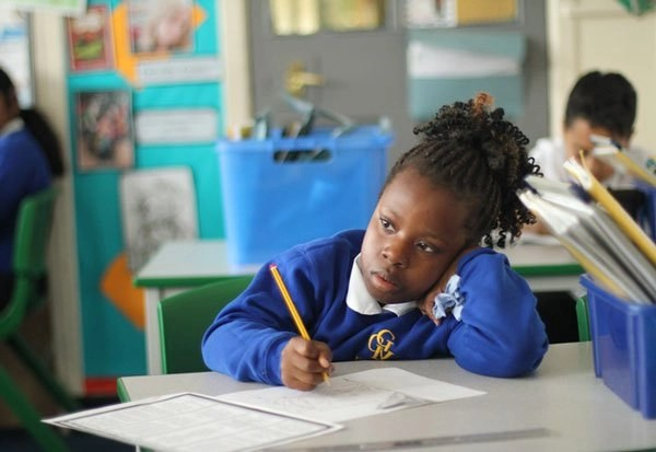 Young girl concentrating in her MFL class