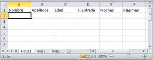 Lista en joja de cálculo