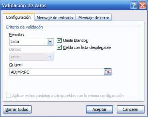 lista desplegable para introducir datos en celdas