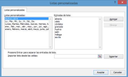 Nueva lista personalizada en Excel