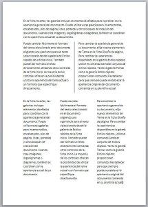 Documento con tres tipos de columnas en Word