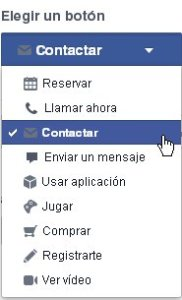 Opciones para un botón de llamada a la acción en Facebook
