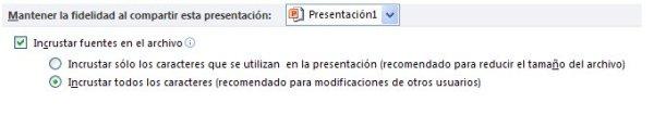 Incrustar fuentes en una presentación de PowerPoint