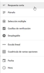 Tipos de preguntas en Google Forms