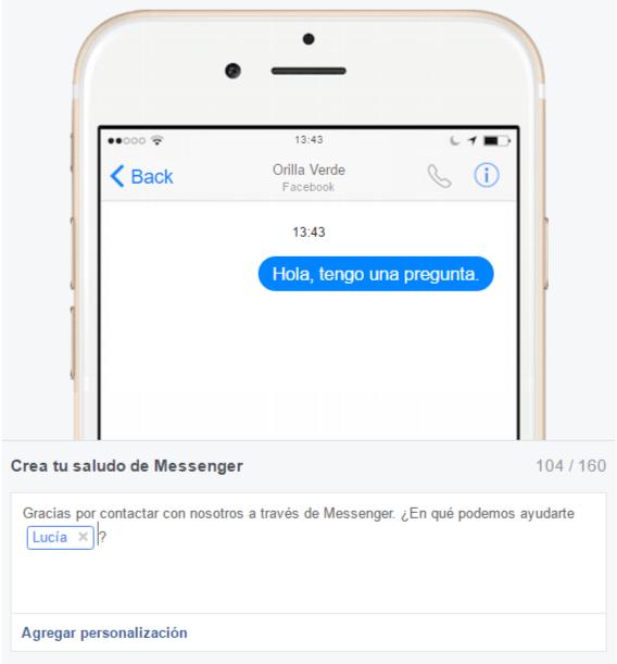 Personalización del mensaje de saludo de Messenger