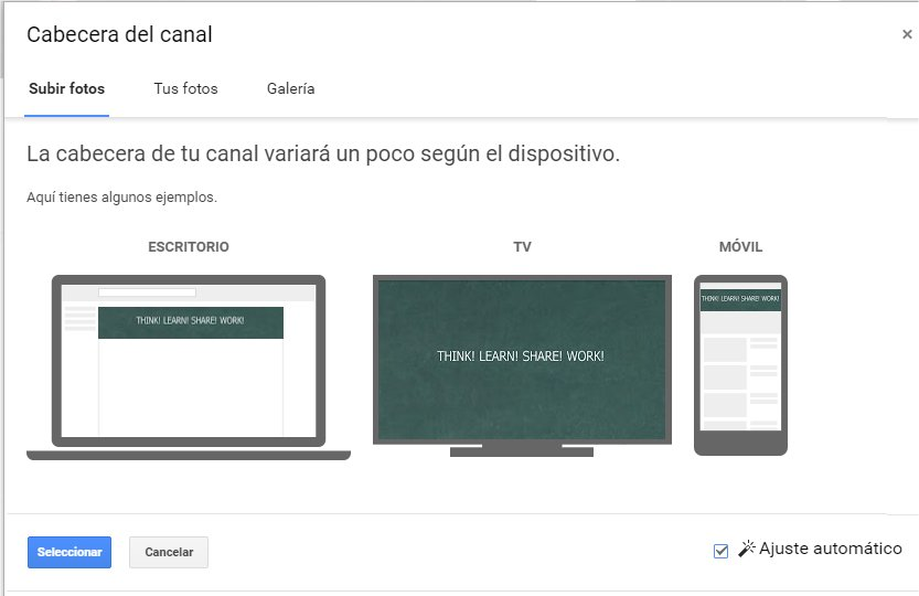 Modificar la cabecera del canal de YouTube
