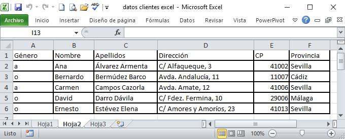 Datos en Excel para correspondencia en Word