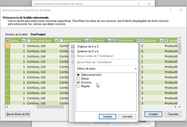 Filtros y selección al importar tablas para PowerPivot