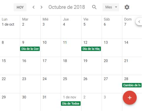 Calendario de Festivos nacionales en Google