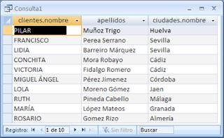 Consulta SQL entre tablas relacionadas mediante WHERE