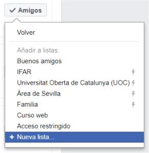 Opción para crear una Nueva lista en Facebook