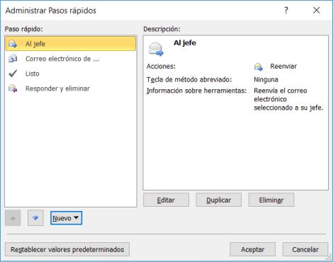 Administrar pasos rápidos en Outlook