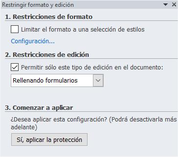 Opciones de protección de formularios en Word