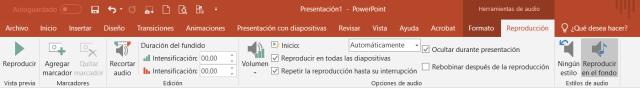 Cinta de reproducción de audio en PowerPoint