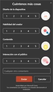 Encuesta para el público online de las presentaciones emitidas con Live Presentations