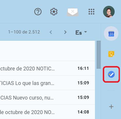 Localización de Google Tasks en la bandeja de entrada