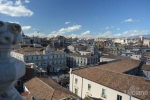 Vista di piazza università, dalla Chiesa della Badia di Sant'Agata, durante i festeggiamenti per Sant'Agata 2019 - Catania (CT)