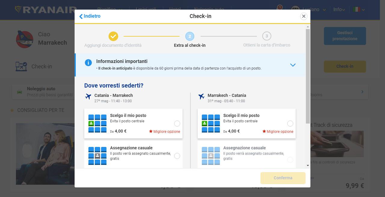 Home page di Ryanair; check-in si parte la con scelta del posto tra quello casuale - gratuito o quello scelto a pagamento